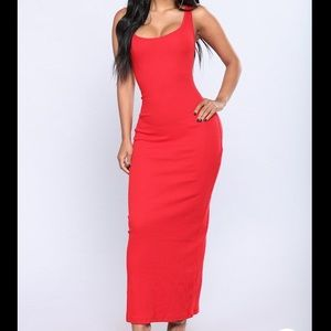 FASHION NOVA red ribbed maxi dress